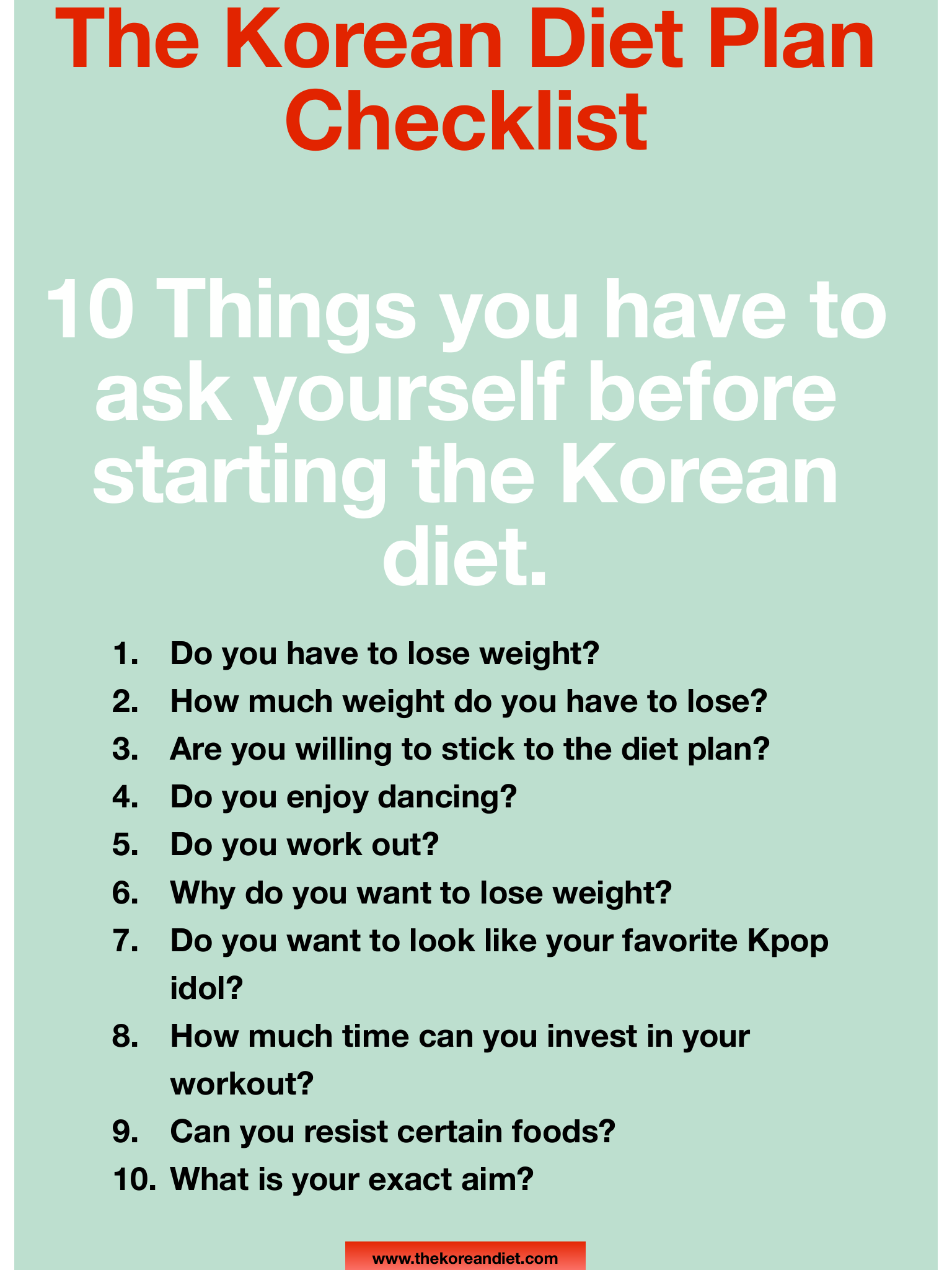 Korean Diet Plan Checklist - The Korean Diet